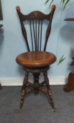 Antique American Victorian high back piano stool