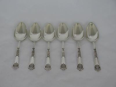 Set of 6 Gorham Sterling Lansdowne Large Oval Dessert Spoons