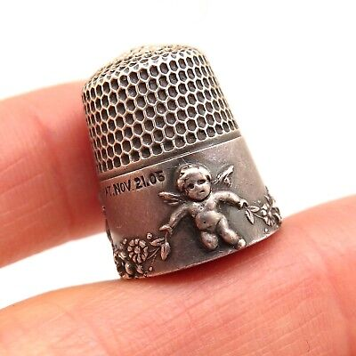 Antique Victorian Signed 925 Sterling Silver Handcrafted Artisan Cupid Thimble