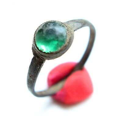 Ancient Medieval Bronze Finger Ring With Inlay (MAY02)