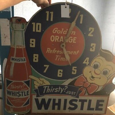 Very RARE Vintage Thirsty Just Whistle Soda Clock - 1940's