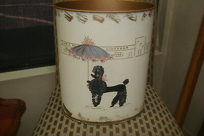 Mid Century *ransburg Hand Painted Poodle Rhinestones Metal Trash Can Cream/gold
