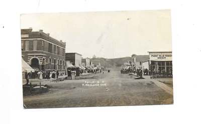 Antique RPPC Philip, South Dakota Town Old Saloon Photo w/Old PBR Sign/Ad 1910