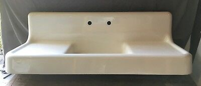 Antique Cast Iron White Porcelain High Back Kitchen Farm Sink Old Vtg 165-18E