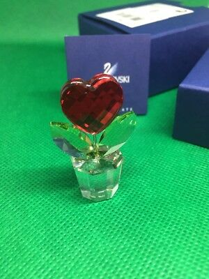 Swarovski Crystal Red Heart Flower in a Pot, #828014, 9400000026 New In Box COA