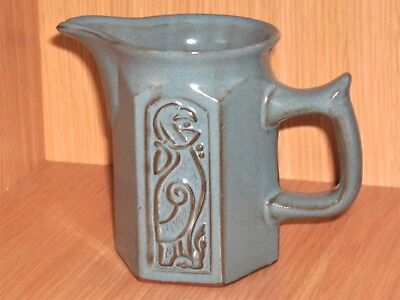Tyn Llan Vintage Beautiful Welsh Studio Pottery Celtic Milk Jug In Blue