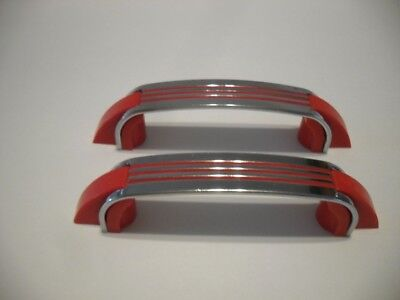 Two Vintage Chrome Drawer Pulls RED Lines Plastic Ends Cabinet Handles Amerock
