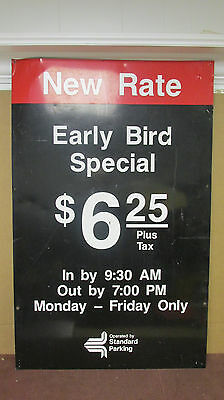 "VTG Tin Standard Parking Lot ""New Rate Early Bird Special"" Sign Chicago S99"