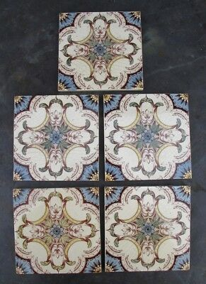5x lovely antique victorian  tiles reclaimed salvage