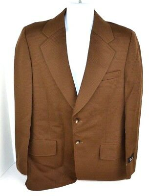 Vtg 1970's Envoy Men's Double Knit Polyester Solid Blazer Sport Coat, Brown 42 L