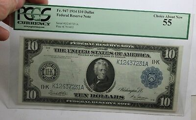 1914 $10 Dallas Pcgs Choice About New 55 Federal Reserve Note Fr 947