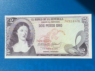 1973 Colombian two Peso Oro Bank Note
