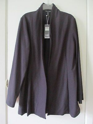 Eileen Fisher...ink Blue Open Front  Long Jacket Size L Nwt...!!