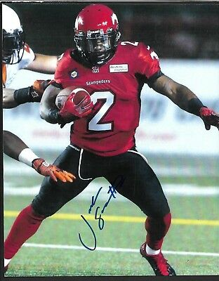 Cfl Autograph: #2 Jock Sanders, Calgary Stampeders, 8 X 10, West Virginia