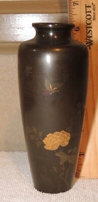 Antique Vintage Japanese Inlaid Gold Silver Mixed Metal Bronze Flowers Vase