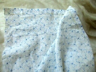SWEET TEENY TINIEST ANTIQUE VICTORIAN 19th BLU ROSE FLOWER FINE COTTON FABRIC PC