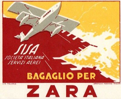 Societa Italiana Servizi Aerei Zara 1930 Baggage Label Sticker Flying Boat