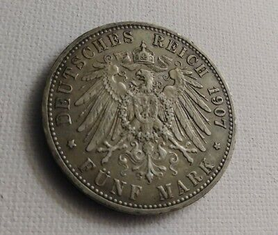 XF/AU Germany 1907-A Five Funf Mark Crown Size Silver Coin