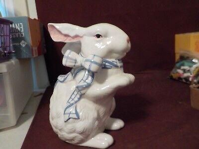 Pretty Large Ceramic White Bunny Sitting Up With Blue Bow