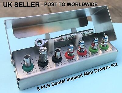 Dental Implant Mini Drivers Kit Universal Ratchet Wrench Hex Screws 8 Pcs New