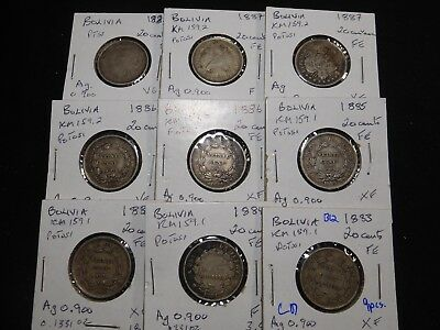 B12 Bolivia 20 Centavos 1883-1887 Group 9 pcs