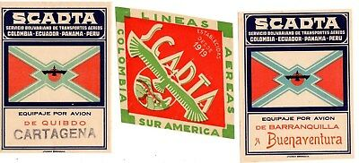 3 Scadta  Airline Baggage Label Stickers 30's Colombia Cartagena Buenaventura