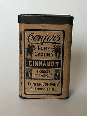 Vintage Confer's Cinnamon. Tin Litho Can, Advertising, Spice. General Store,