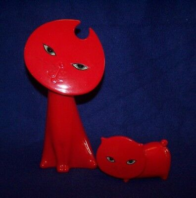 Lot of 2 Matched Set Harvey Knox Retro Modernistic Ceramic Red Cat Figures