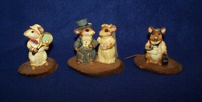 Lot of 3 Cute Mice Figurines Like Wee Forest Folk - 99 Cent Start No Reserve