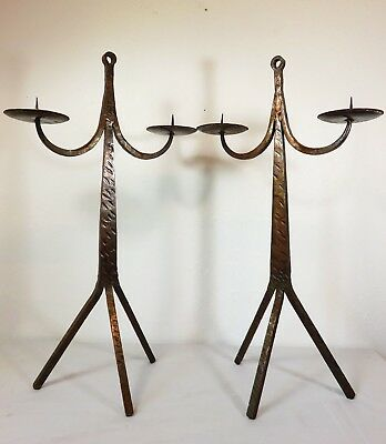 """VTG 25"""" Tall MODERNIST IRON COPPER CANDLE HOLDER PAIR Mid Century ARTS & CRAFTS"""