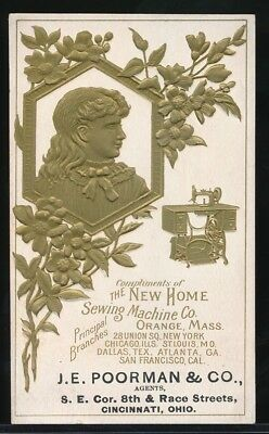 THE NEW HOME SEWING MACHINE Co. Embossed Gilded Victorian Trade Card ORANGE, MA