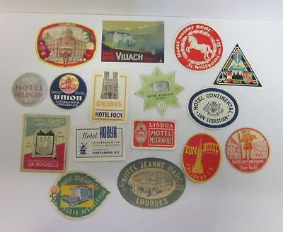 Mixed Lot (16) Vintage Foreign Souvenir Hotel Advertising Luggage Labels cv7683