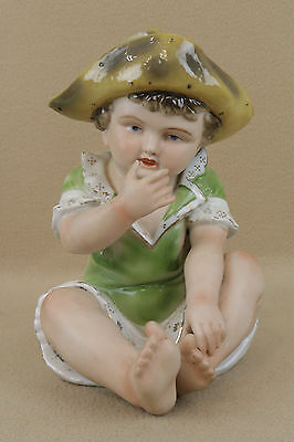 "11"" Antique German Bisque Porcelain Piano Baby Boy Figure Figurine  *REDUCED*"