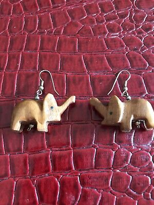Artists Quality Large Carved Wood Pierced Elephant Earrings