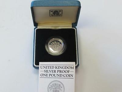 Great Britain 1984 Sterling Silver One Pound Proof Thistle With Box/coa