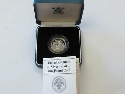 Great Britain 1987 Sterling Silver One Pound Proof Oak Tree With Box/coa