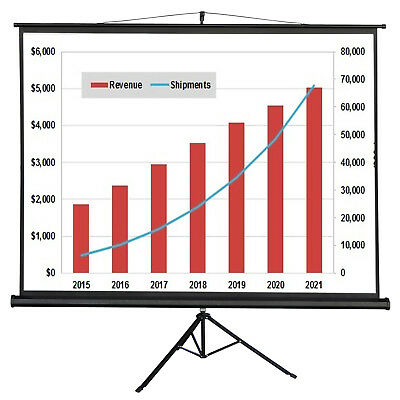 "Portable 100"" Projector 4:3 Projection Screen Tripod Manual Pull-up Matte White"