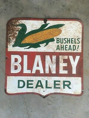 Vintage Tin Blaney Embossed Seed Corn Tin Sign - farming ag MN IA Midwest