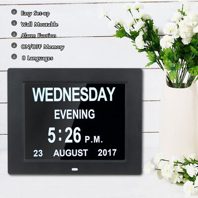8'' LED Dementia Digital Calendar Day Clock Large Time Colors Year/Month/Week/Da