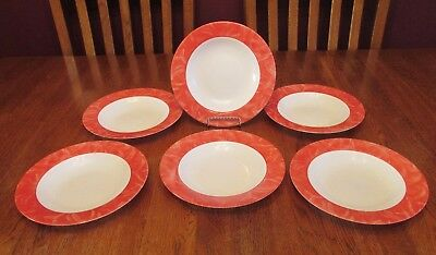 Six Arcopal France Rimmed White Glass Soup Bowls With Red Brushed Rim