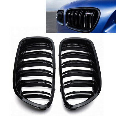 2x Glossy Black Front Kidney Grill Grille for BMW 5-Series F10 F11 2016 M5 528i