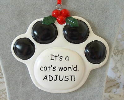 New Tumbleweed Pottery It's a Cat's World ADJUST Pawprint Christmas Ornament