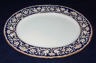 Crown Staffordshire ELLESMERE Cobalt Blue & Gold Oval Serving Platter 15 1/2""