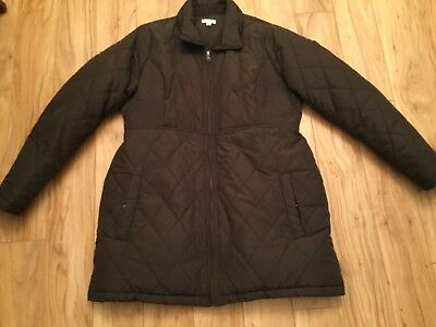 A Pea in the Pod Dark Brown Maternity Hooded Winter Jacket. Size L. EUC