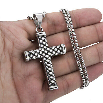 Solid Stainless Steel Vintage Silver CROSS Men Pendant Chain Necklace Jewelry