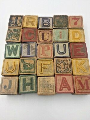 """ANTIQUE Wood ALPHABET Blocks Lot of 25 Number Word PICTURE Cubes 1.75"""" Square"""