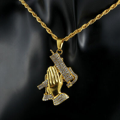 "Men's Hip Hop Gold Plated Ice Out Praying Hand Pendant 28"" Chain Necklace Gifts"
