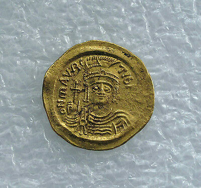 Gold Solidus Coin Maurice Tiberius Byzantine Constantinople XF+  582 - 602 AD