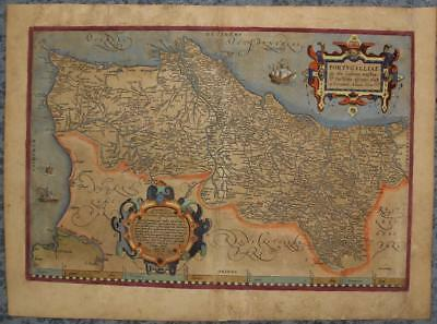Portugal 1587 Abraham Ortelius Unusual Antique Original Copper Engraved Map