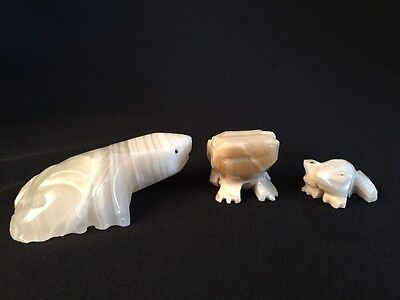 3 Vintage Carved Stone FROGS Paperweight Figurines Carved Folk Art